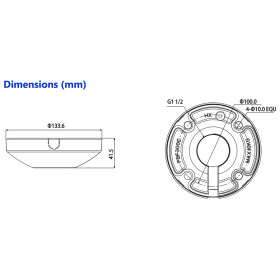 weiße Deckenhalterung für motorisierte Dome-Kameras DAHUA
