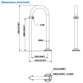 weiße Halterung für die Brüstungsmontage aus Aluminium für PTZ-Kameras DAHUA